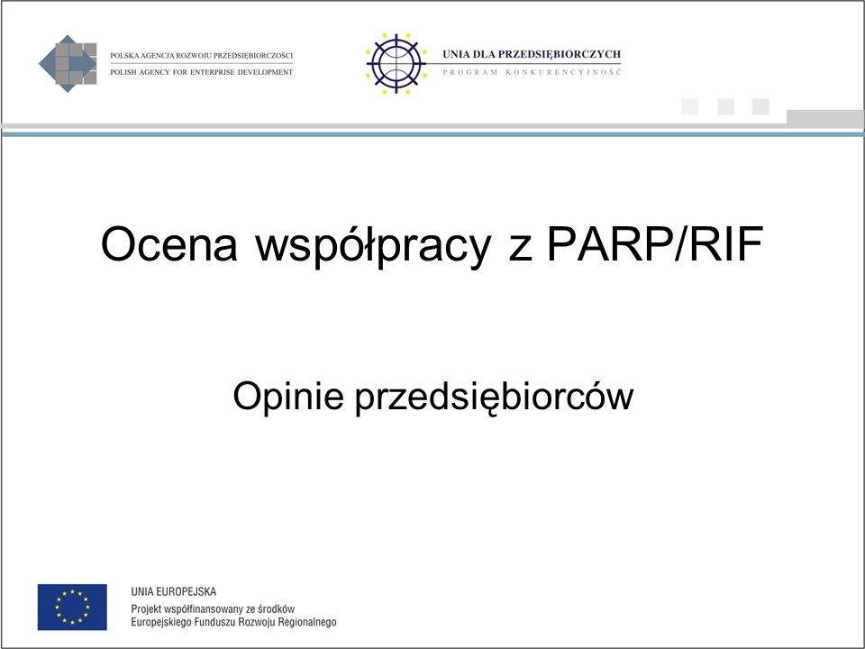 Ocena współpracy z PARP/RIF Opinie przedsiębiorców