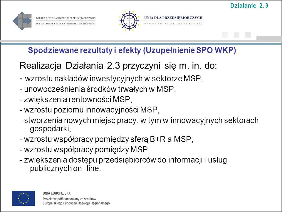 Spodziewane rezultaty i efekty (Uzupełnienie SPO WKP) Realizacja Działania 2.3 przyczyni się m.