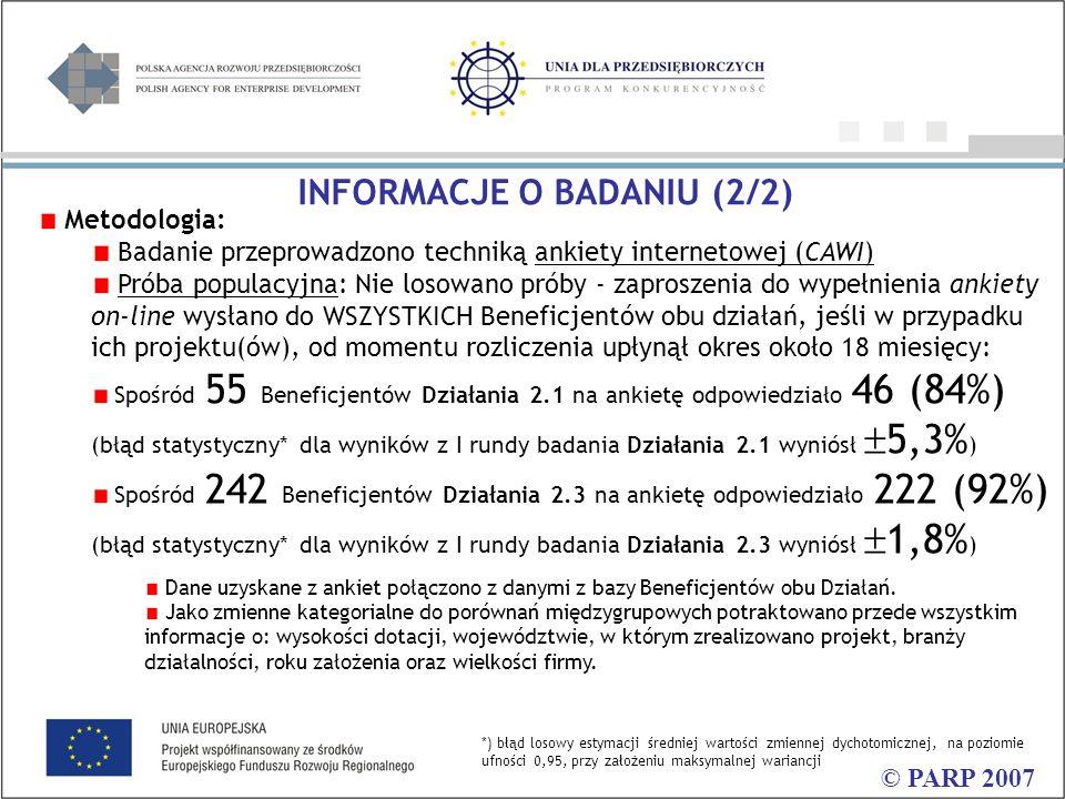 Metodologia: Badanie przeprowadzono techniką ankiety internetowej (CAWI) Próba populacyjna: Nie losowano próby - zaproszenia do wypełnienia ankiety on-line wysłano do WSZYSTKICH Beneficjentów obu działań, jeśli w przypadku ich projektu(ów), od momentu rozliczenia upłynął okres około 18 miesięcy: Spośród 55 Beneficjentów Działania 2.1 na ankietę odpowiedziało 46 (84%) (błąd statystyczny* dla wyników z I rundy badania Działania 2.1 wyniósł  5,3% ) Spośród 242 Beneficjentów Działania 2.3 na ankietę odpowiedziało 222 (92%) (błąd statystyczny* dla wyników z I rundy badania Działania 2.3 wyniósł  1,8% ) Dane uzyskane z ankiet połączono z danymi z bazy Beneficjentów obu Działań.