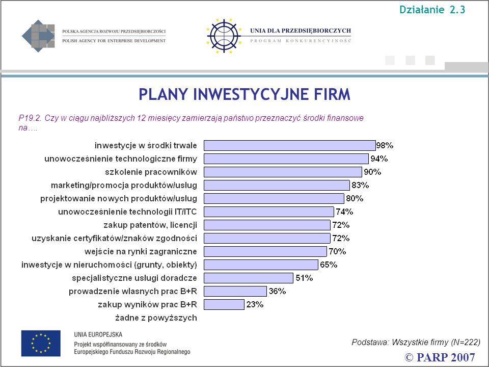 PLANY INWESTYCYJNE FIRM © PARP 2007 P19.2.