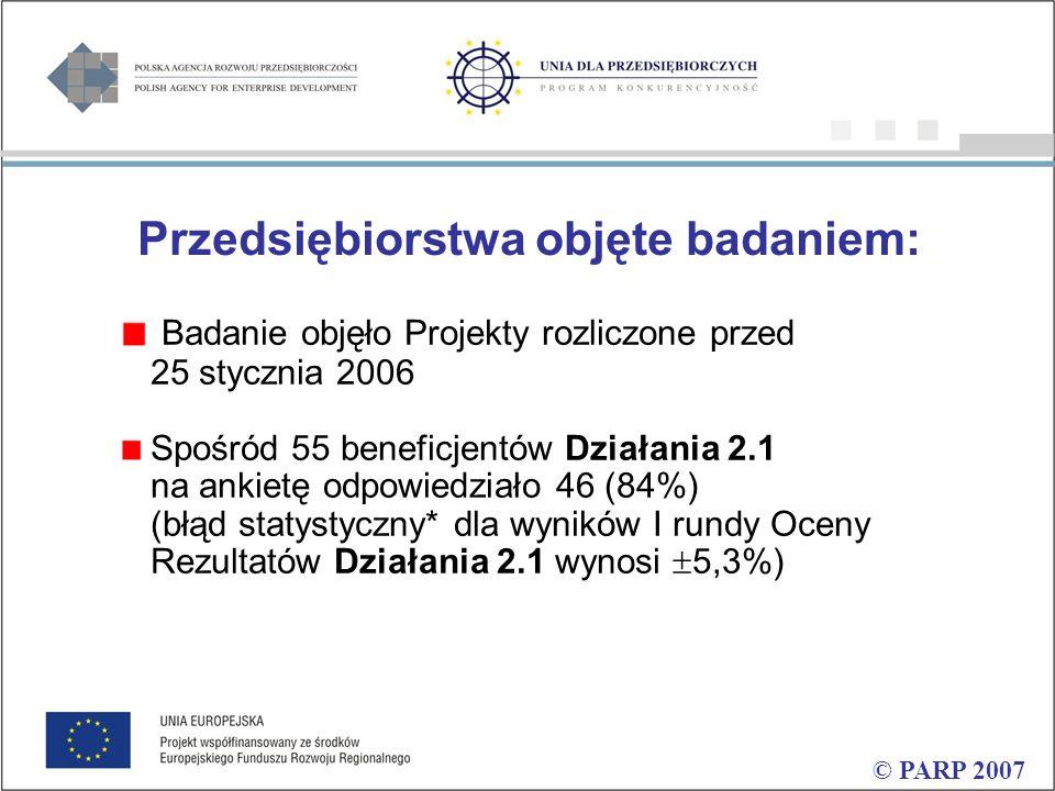 Przedsiębiorstwa objęte badaniem: Badanie objęło Projekty rozliczone przed 25 stycznia 2006 Spośród 55 beneficjentów Działania 2.1 na ankietę odpowiedziało 46 (84%) (błąd statystyczny* dla wyników I rundy Oceny Rezultatów Działania 2.1 wynosi  5,3%)