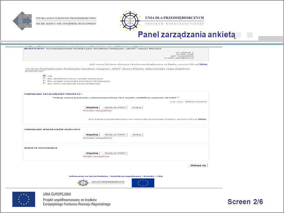 Screen 2/6 Panel zarządzania ankietą