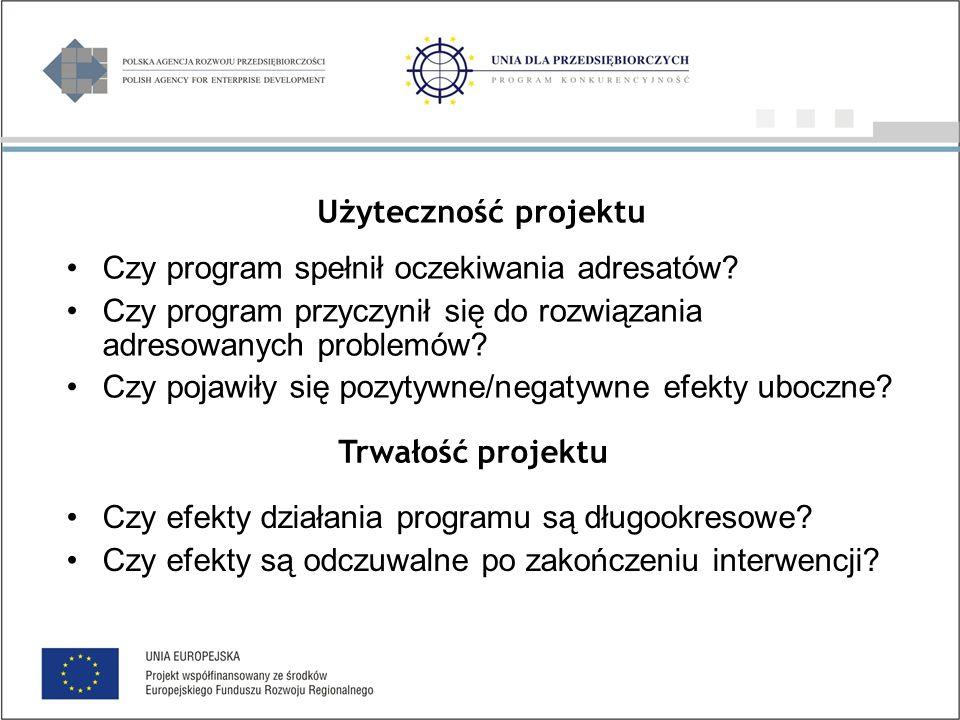 Użyteczność projektu Czy program spełnił oczekiwania adresatów.