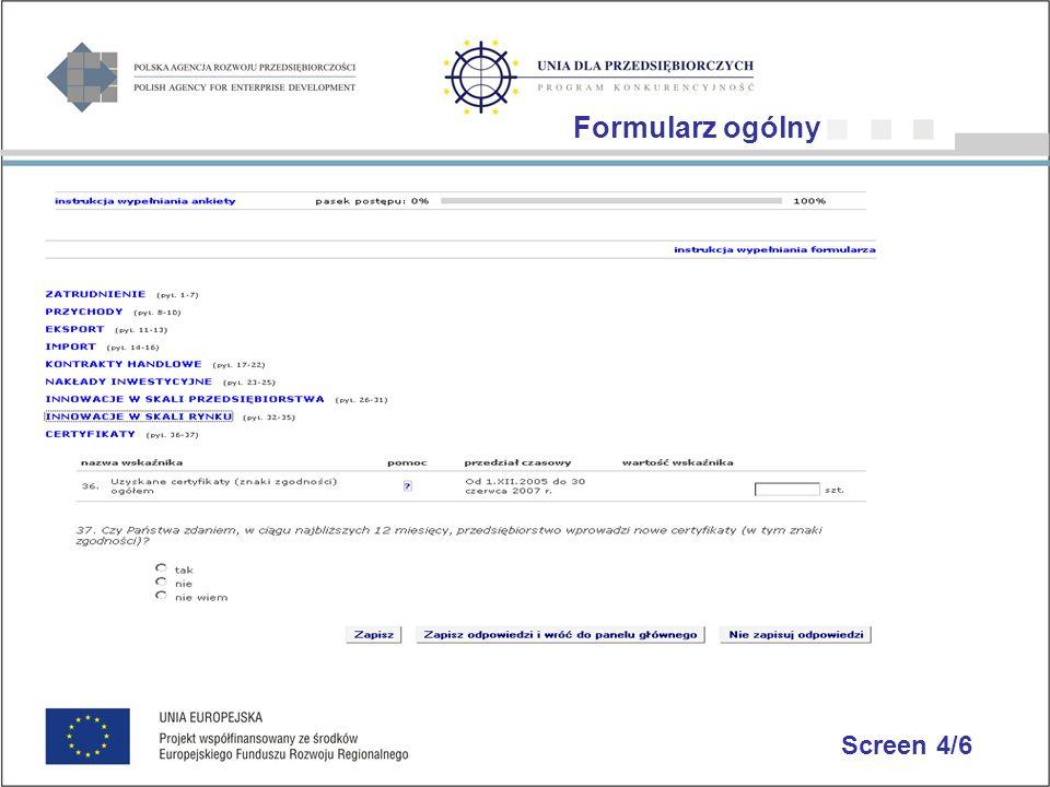 Screen 4/6 Formularz ogólny