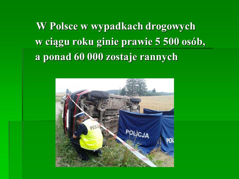 W Polsce w wypadkach drogowych W Polsce w wypadkach drogowych w ciągu roku ginie prawie 5 500 osób, w ciągu roku ginie prawie 5 500 osób, a ponad 60 000 zostaje rannych a ponad 60 000 zostaje rannych