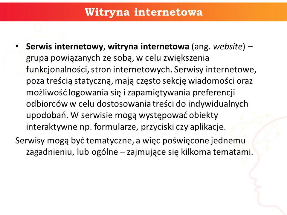 Witryna internetowa Serwis internetowy, witryna internetowa (ang.