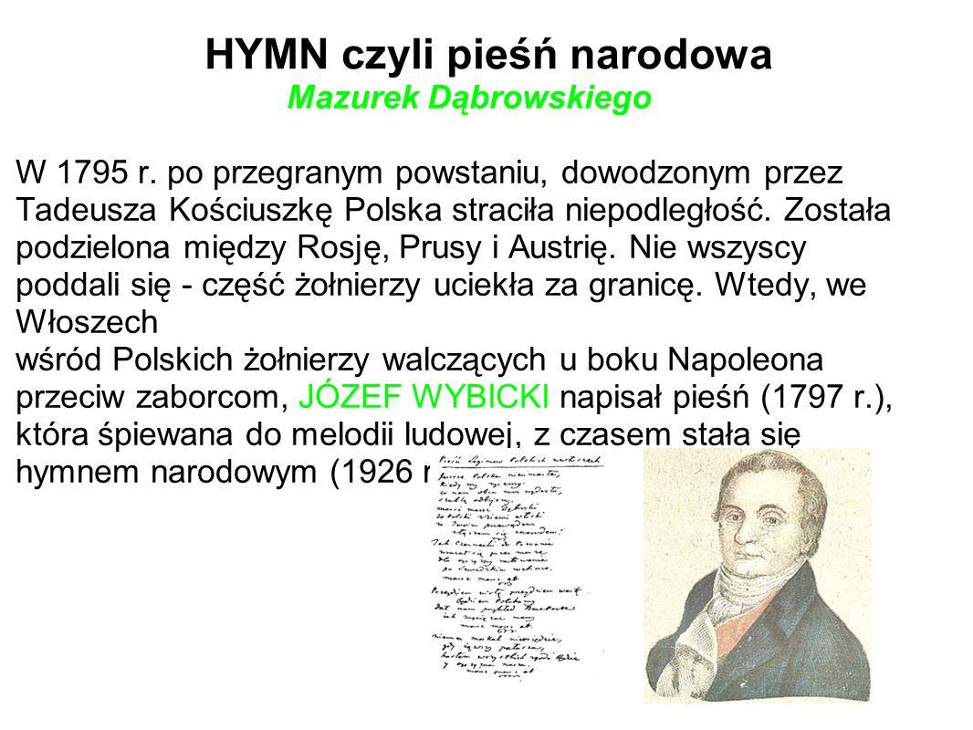 HYMN czyli pieśń narodowa Mazurek Dąbrowskiego W 1795 r. po przegranym powstaniu, dowodzonym przez Tadeusza Kościuszkę Polska straciła niepodległość.