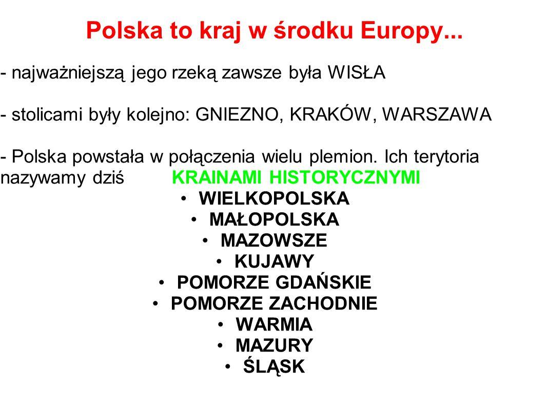 Polska to kraj w środku Europy... - najważniejszą jego rzeką zawsze była WISŁA - stolicami były kolejno: GNIEZNO, KRAKÓW, WARSZAWA - Polska powstała w