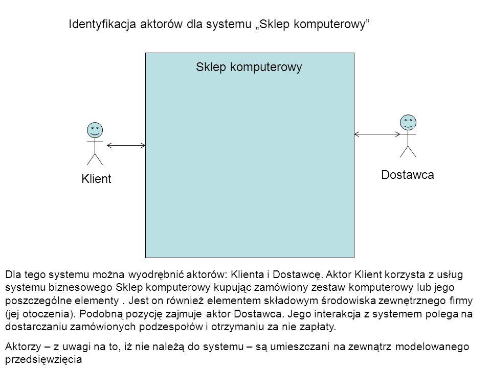 """Sklep komputerowy Identyfikacja aktorów dla systemu """"Sklep komputerowy"""" Klient Dostawca Dla tego systemu można wyodrębnić aktorów: Klienta i Dostawcę."""