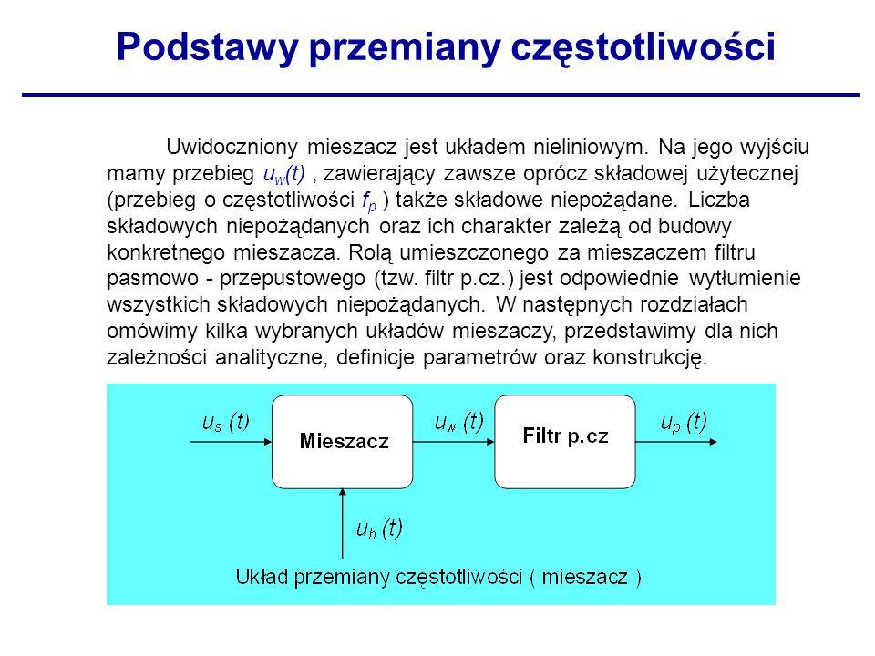 Uwidoczniony mieszacz jest układem nieliniowym. Na jego wyjściu mamy przebieg u w (t), zawierający zawsze oprócz składowej użytecznej (przebieg o częs