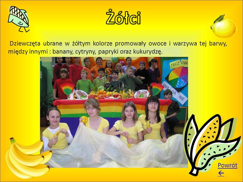 Dziewczęta ubrane w żółtym kolorze promowały owoce i warzywa tej barwy, między innymi : banany, cytryny, papryki oraz kukurydzę. Powrót 