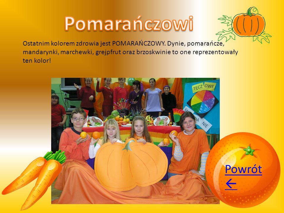 Ostatnim kolorem zdrowia jest POMARAŃCZOWY. Dynie, pomarańcze, mandarynki, marchewki, grejpfrut oraz brzoskwinie to one reprezentowały ten kolor! Powr