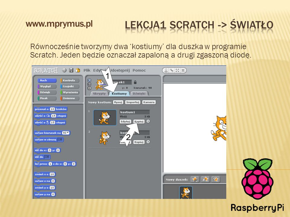 Równocześnie tworzymy dwa 'kostiumy' dla duszka w programie Scratch. Jeden będzie oznaczał zapaloną a drugi zgaszoną diodę. www.mprymus.pl