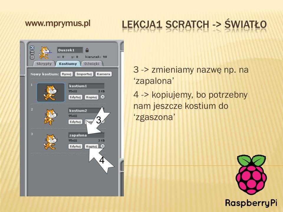 3 -> zmieniamy nazwę np. na 'zapalona' 4 -> kopiujemy, bo potrzebny nam jeszcze kostium do 'zgaszona' www.mprymus.pl