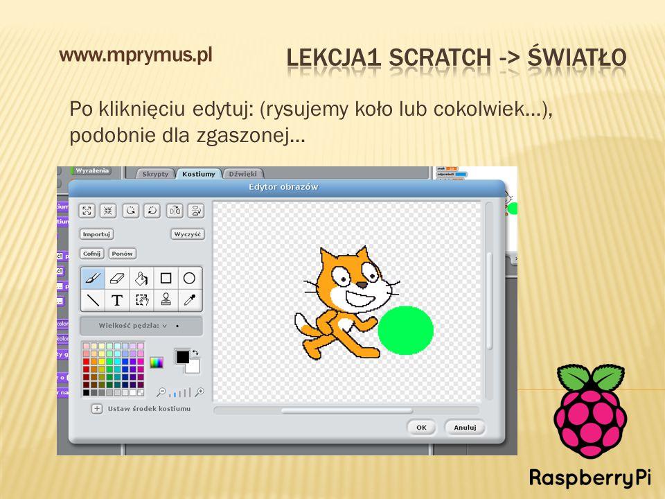 Po kliknięciu edytuj: (rysujemy koło lub cokolwiek…), podobnie dla zgaszonej… www.mprymus.pl