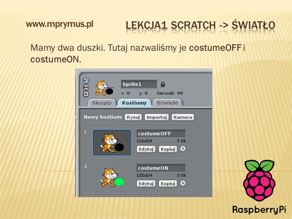 Mamy dwa duszki. Tutaj nazwaliśmy je costumeOFF i costumeON. www.mprymus.pl