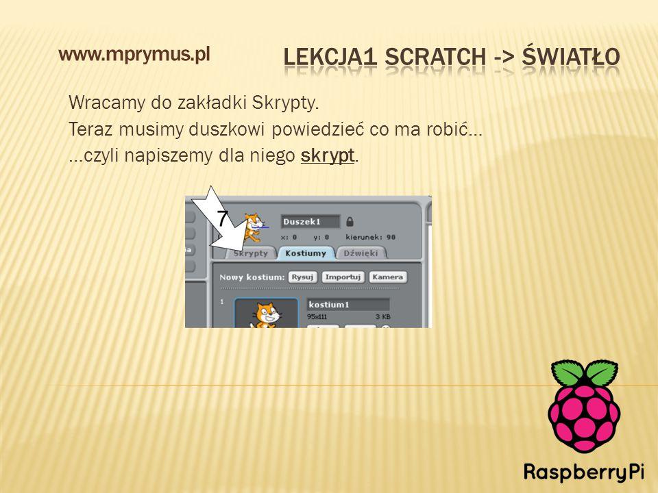 Wracamy do zakładki Skrypty. Teraz musimy duszkowi powiedzieć co ma robić… …czyli napiszemy dla niego skrypt. www.mprymus.pl