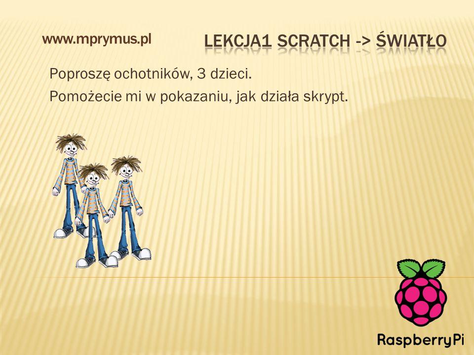 Poproszę ochotników, 3 dzieci. Pomożecie mi w pokazaniu, jak działa skrypt. www.mprymus.pl