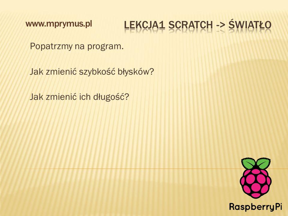 Popatrzmy na program. Jak zmienić szybkość błysków? Jak zmienić ich długość? www.mprymus.pl