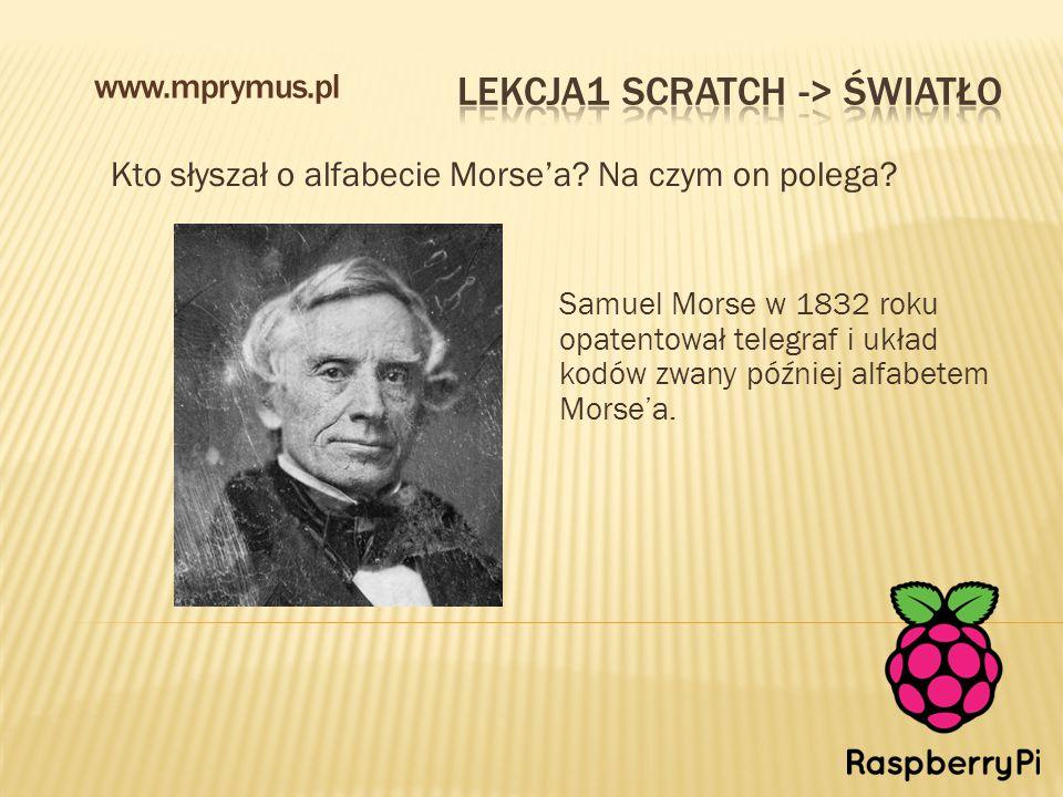 Kto słyszał o alfabecie Morse'a? Na czym on polega? www.mprymus.pl Samuel Morse w 1832 roku opatentował telegraf i układ kodów zwany później alfabetem