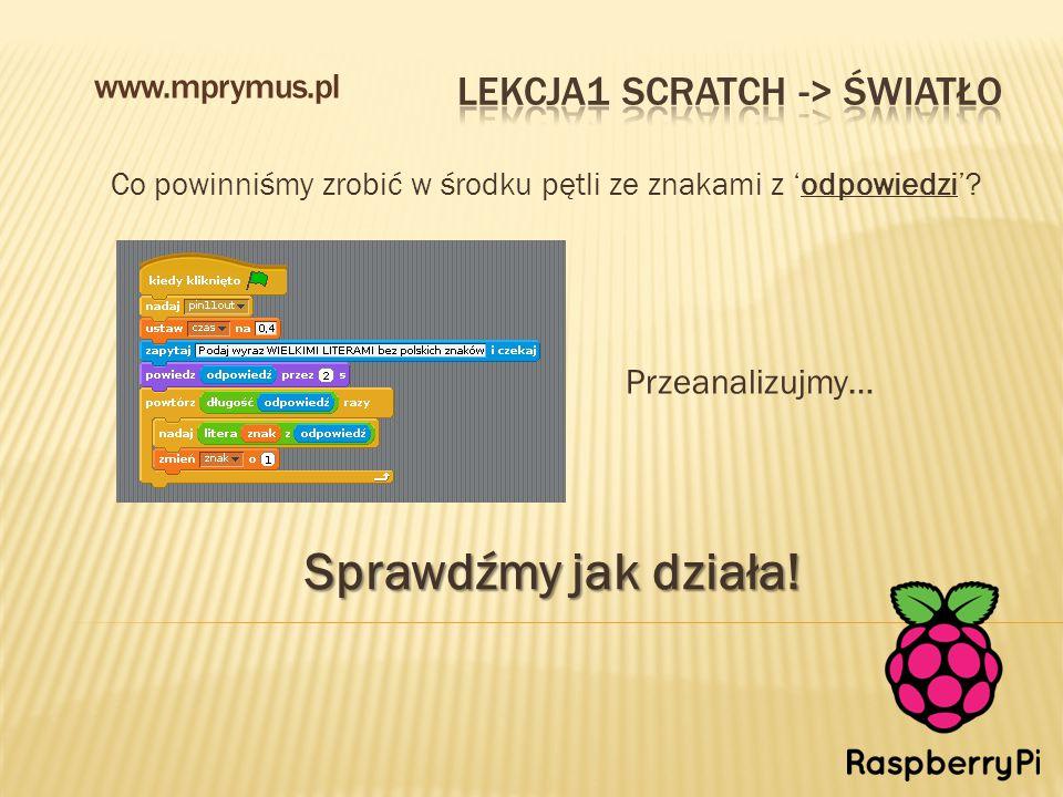 Co powinniśmy zrobić w środku pętli ze znakami z 'odpowiedzi'? www.mprymus.pl Sprawdźmy jak działa! Przeanalizujmy…
