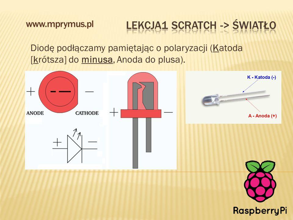 Diodę podłączamy pamiętając o polaryzacji (Katoda [krótsza] do minusa, Anoda do plusa). www.mprymus.pl