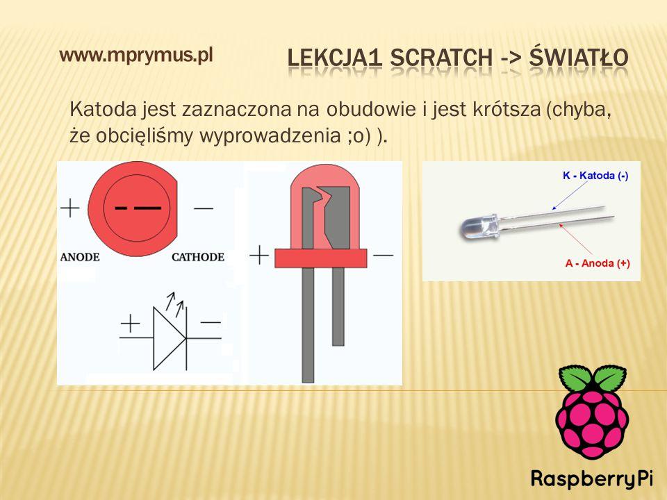 Katoda jest zaznaczona na obudowie i jest krótsza (chyba, że obcięliśmy wyprowadzenia ;o) ). www.mprymus.pl