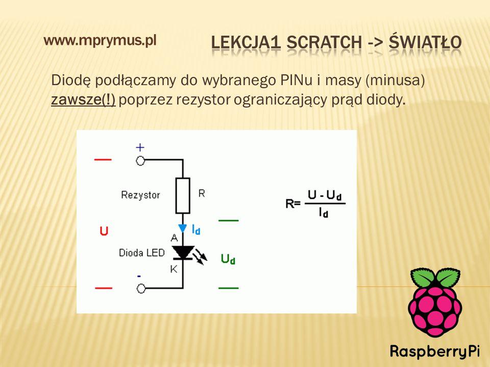 Diodę podłączamy do wybranego PINu i masy (minusa) zawsze(!) poprzez rezystor ograniczający prąd diody.
