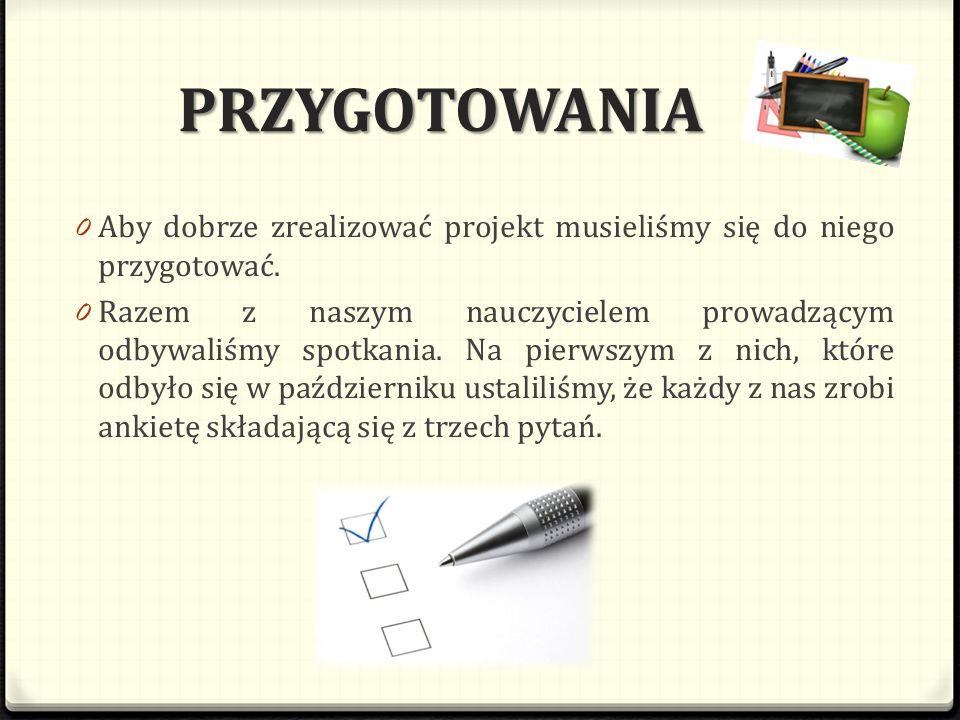 PRZYGOTOWANIA 0 Aby dobrze zrealizować projekt musieliśmy się do niego przygotować. 0 Razem z naszym nauczycielem prowadzącym odbywaliśmy spotkania. N