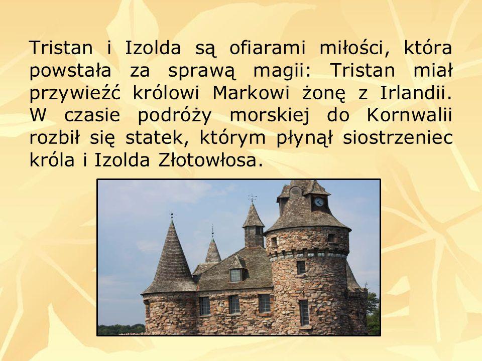 Tristan i Izolda są ofiarami miłości, która powstała za sprawą magii: Tristan miał przywieźć królowi Markowi żonę z Irlandii. W czasie podróży morskie