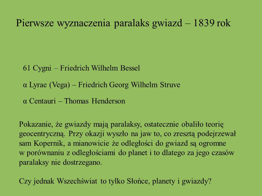 Pierwsze wyznaczenia paralaks gwiazd – 1839 rok 61 Cygni – Friedrich Wilhelm Bessel α Lyrae (Vega) – Friedrich Georg Wilhelm Struve α Centauri – Thoma