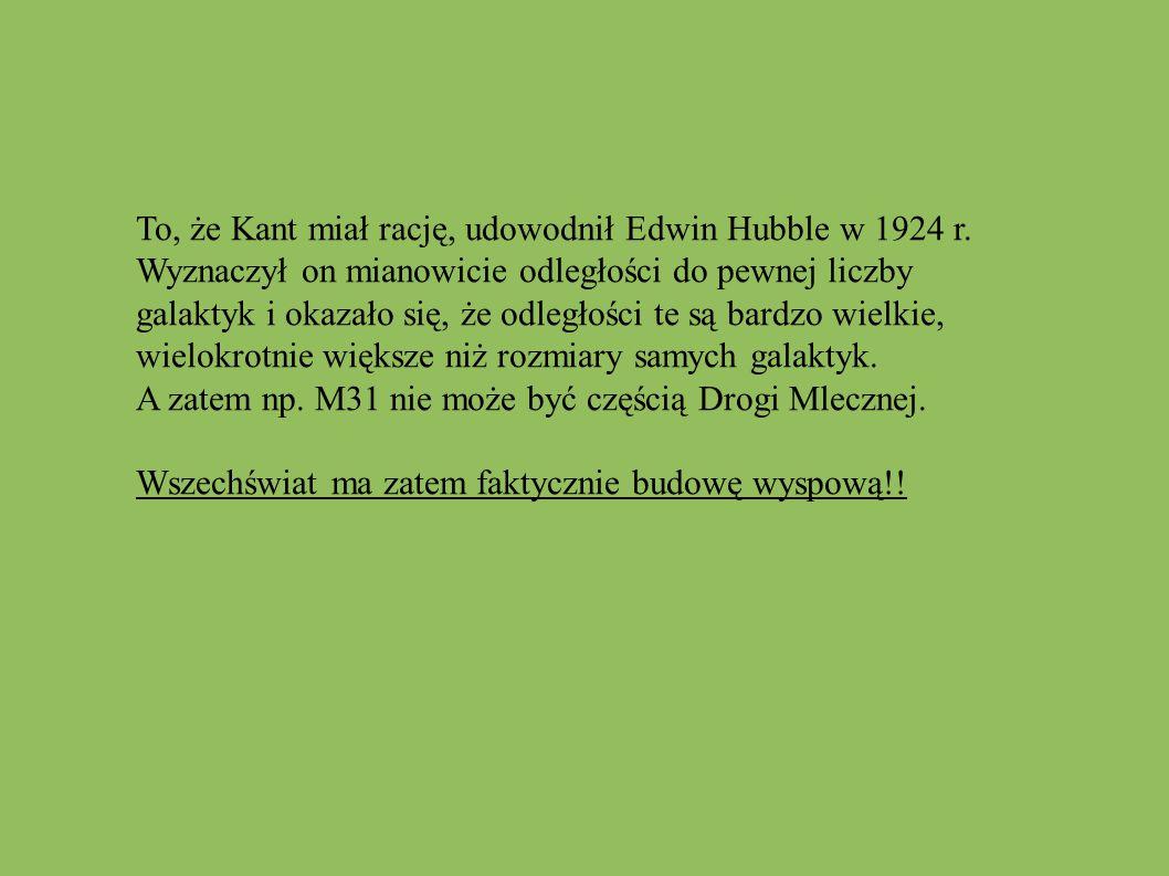To, że Kant miał rację, udowodnił Edwin Hubble w 1924 r. Wyznaczył on mianowicie odległości do pewnej liczby galaktyk i okazało się, że odległości te