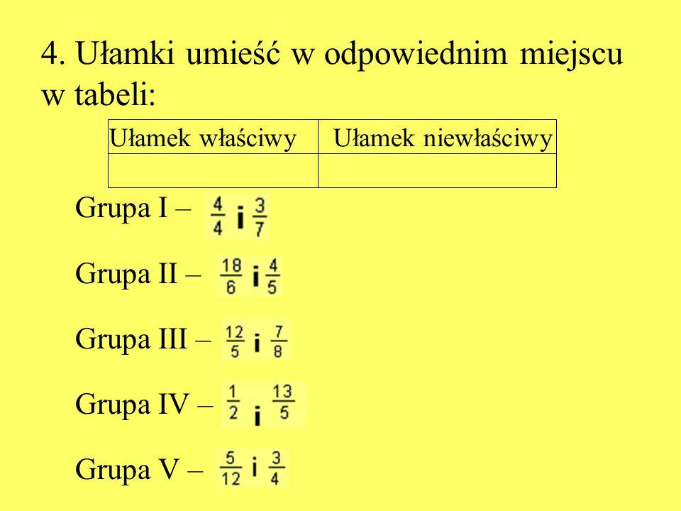 4. Ułamki umieść w odpowiednim miejscu w tabeli: Ułamek właściwy Ułamek niewłaściwy Grupa I – Grupa II – Grupa III – Grupa IV – Grupa V –