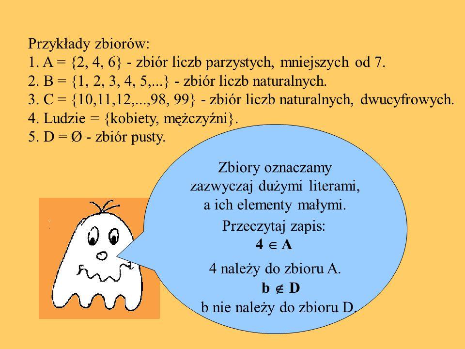 Zbiory oznaczamy zazwyczaj dużymi literami, a ich elementy małymi. Przykłady zbiorów: 1. A = {2, 4, 6} - zbiór liczb parzystych, mniejszych od 7. 2. B