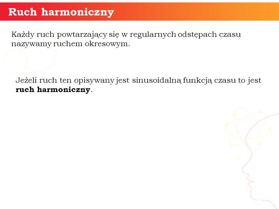 Ruch harmoniczny informatyka + 4 Każdy ruch powtarzający się w regularnych odstępach czasu nazywamy ruchem okresowym. Jeżeli ruch ten opisywany jest s