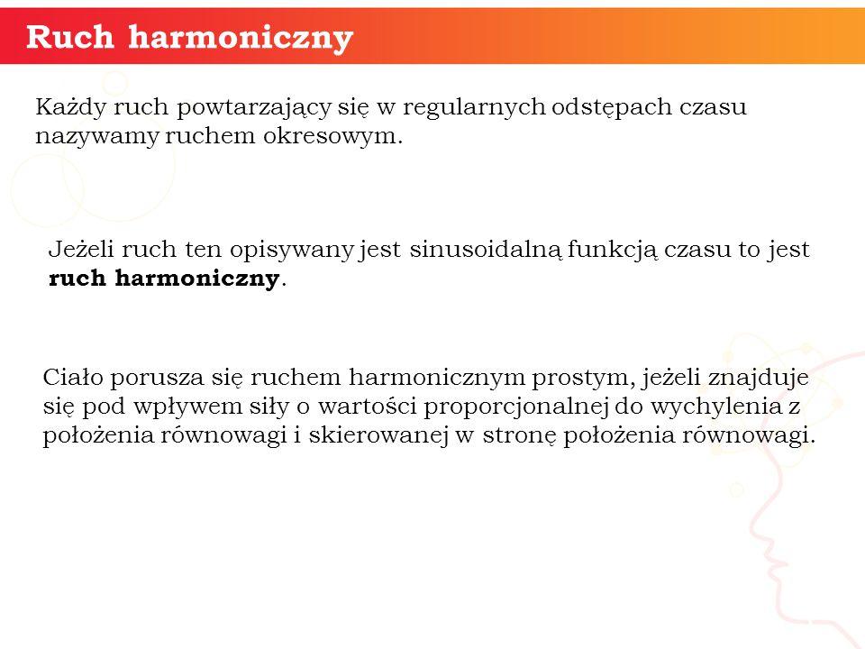 Ruch harmoniczny informatyka + 5 Każdy ruch powtarzający się w regularnych odstępach czasu nazywamy ruchem okresowym. Jeżeli ruch ten opisywany jest s