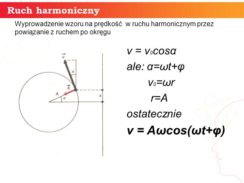 Ruch harmoniczny informatyka + 7 Wyprowadzenie wzoru na prędkość w ruchu harmonicznym przez powiązanie z ruchem po okręgu v = v 0 cosα ale: α=ωt+φ v 0
