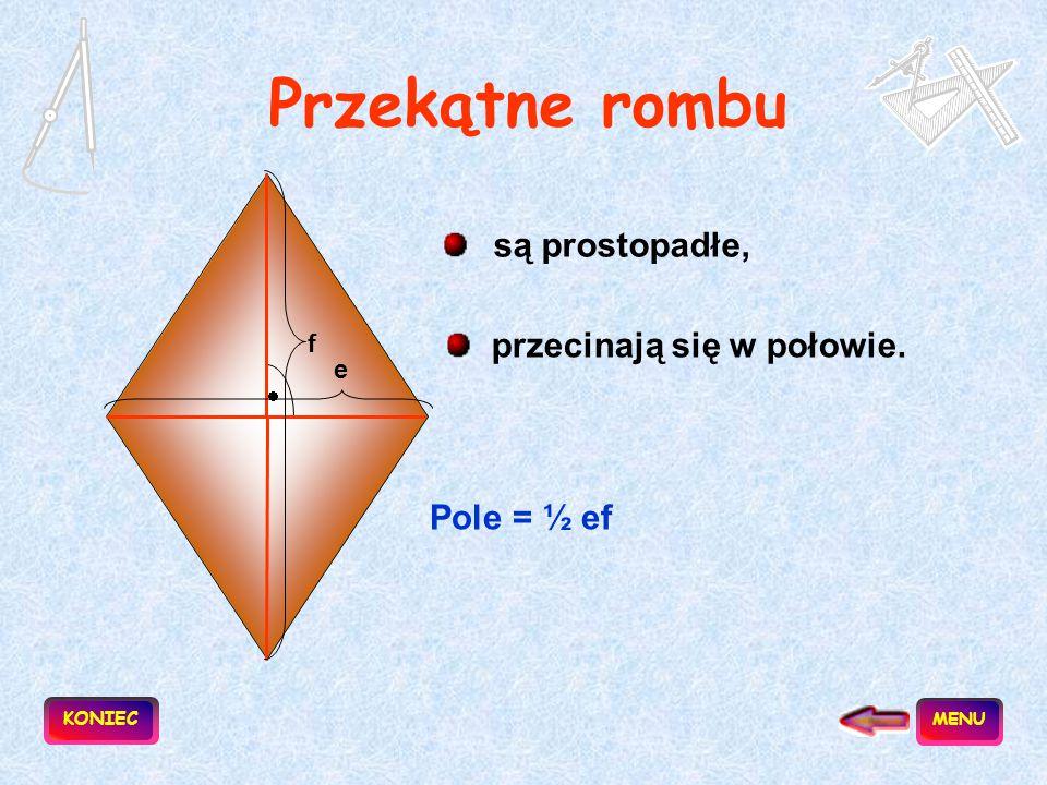 Romb to równoległobok, który ma wszystkie boki jednakowej długości. a a a a Obwód = 4a Pole = ah KONIEC h MENU