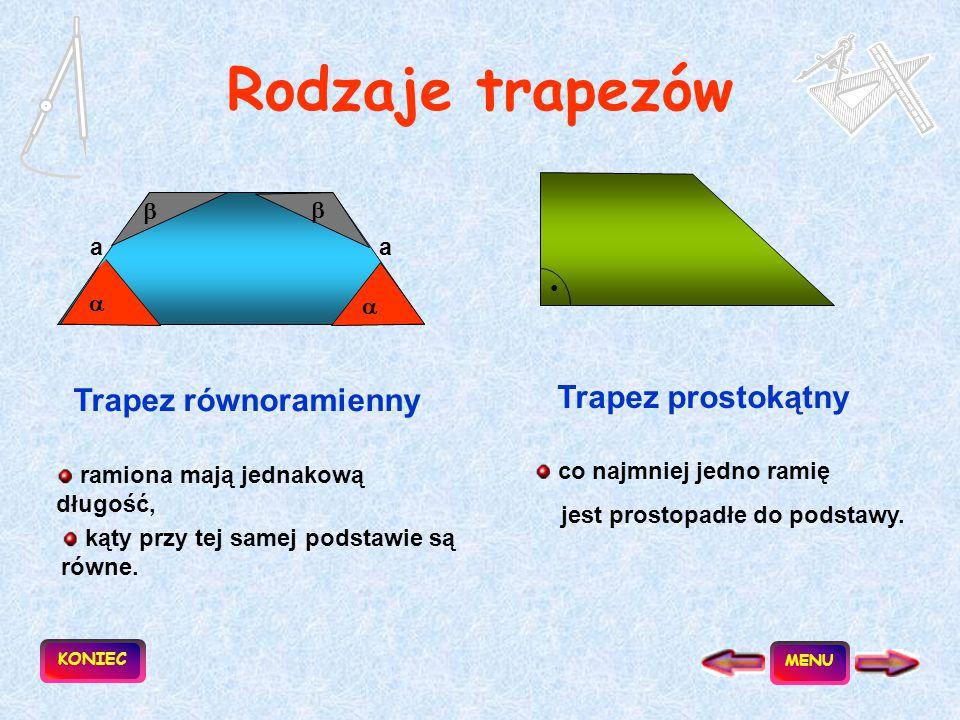 Trapez to czworokąt, który ma co najmniej jedną parę boków równoległych. a || b podstawa ramię Obwód = a + b + c + d Pole = ½ (a+b)h a b d c h KONIEC