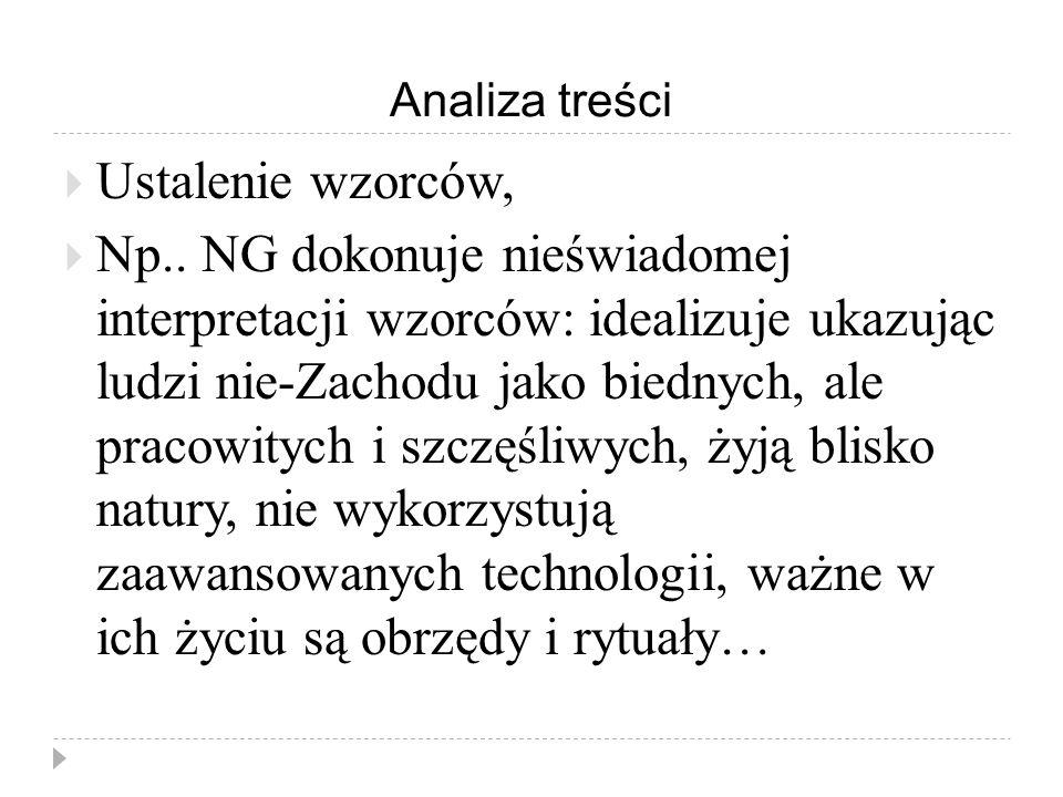Analiza treści  Ustalenie wzorców,  Np..