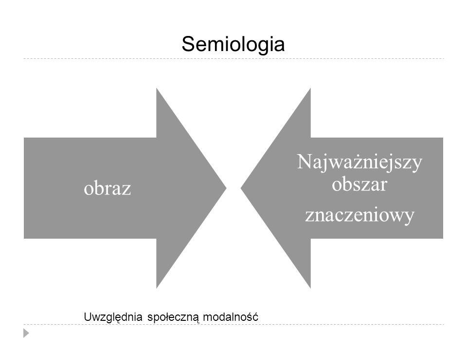 Semiologia obraz Najważniejszy obszar znaczeniowy Uwzględnia społeczną modalność