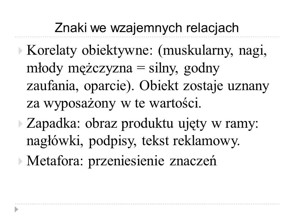 Znaki we wzajemnych relacjach  Korelaty obiektywne: (muskularny, nagi, młody mężczyzna = silny, godny zaufania, oparcie). Obiekt zostaje uznany za wy