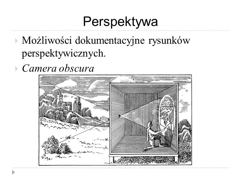 Perspektywa  Możliwości dokumentacyjne rysunków perspektywicznych.  Camera obscura