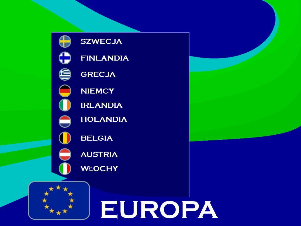 SZWECJA NIEMCY HOLANDIA GRECJA BELGIA FINLANDIA IRLANDIA EUROPA AUSTRIA W Ł OCHY