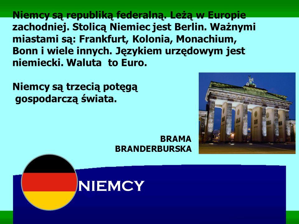 Niemcy są republiką federalną. Leżą w Europie zachodniej. Stolicą Niemiec jest Berlin. Ważnymi miastami są: Frankfurt, Kolonia, Monachium, Bonn i wiel