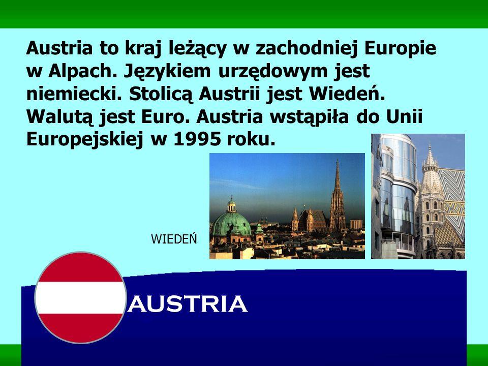 Austria to kraj leżący w zachodniej Europie w Alpach. Językiem urzędowym jest niemiecki. Stolicą Austrii jest Wiedeń. Walutą jest Euro. Austria wstąpi