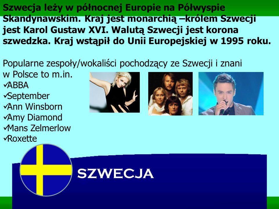 SZWECJA Szwecja leży w północnej Europie na Półwyspie Skandynawskim. Kraj jest monarchią –królem Szwecji jest Karol Gustaw XVI. Walutą Szwecji jest ko