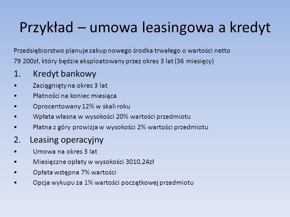 Przykład – umowa leasingowa a kredyt Przedsiębiorstwo planuje zakup nowego środka trwałego o wartości netto 79 200zł, który będzie eksploatowany przez