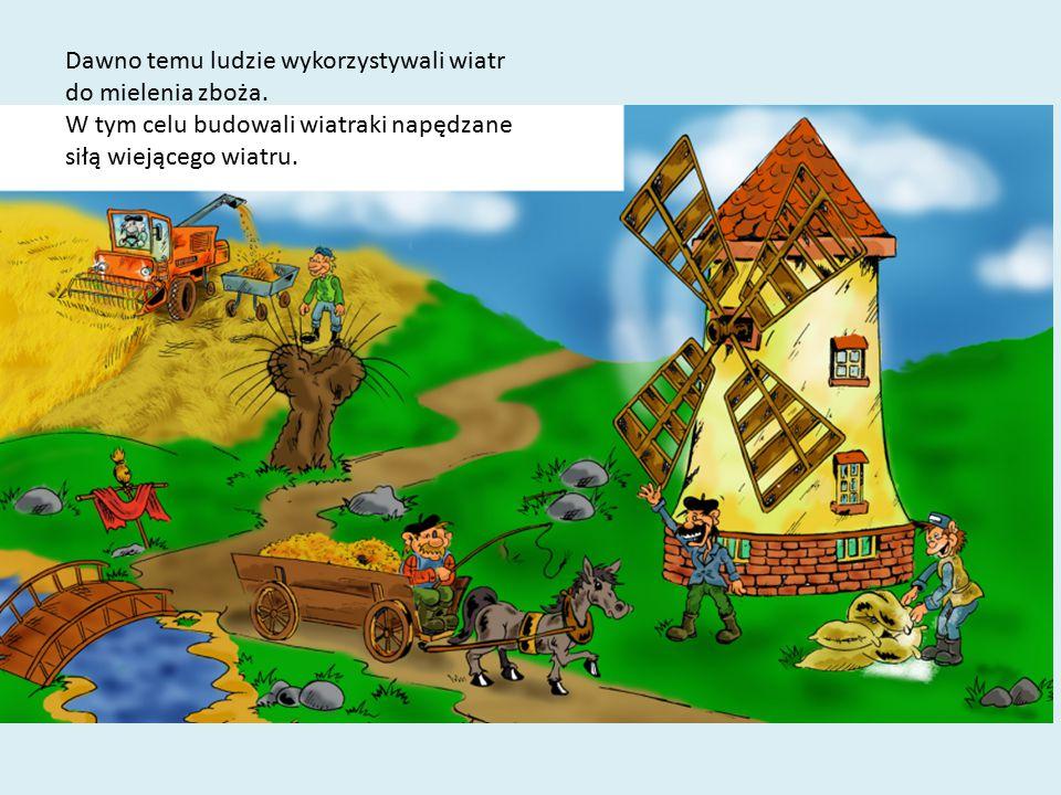 Dawno temu ludzie wykorzystywali wiatr do mielenia zboża. W tym celu budowali wiatraki napędzane siłą wiejącego wiatru.