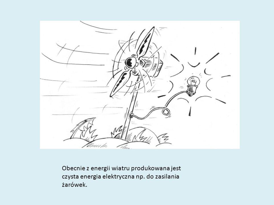 Obecnie z energii wiatru produkowana jest czysta energia elektryczna np. do zasilania żarówek.
